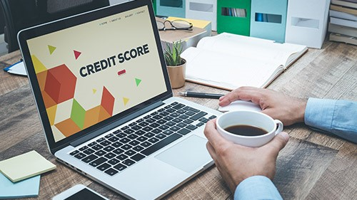 Credit Score Check on Laptop